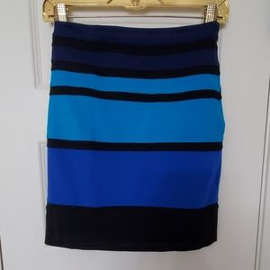 Black and Blue Ponte Stretch Mini Skirt